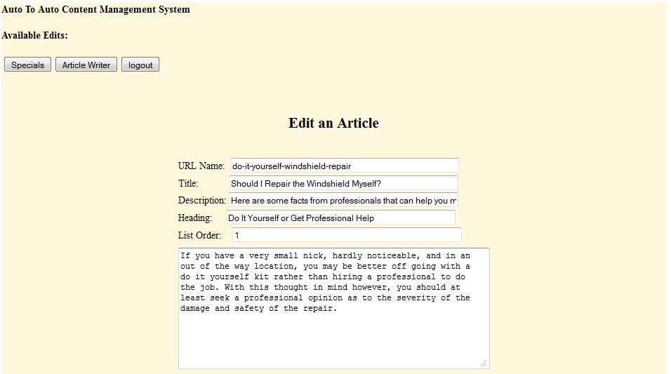 article writer edit mode