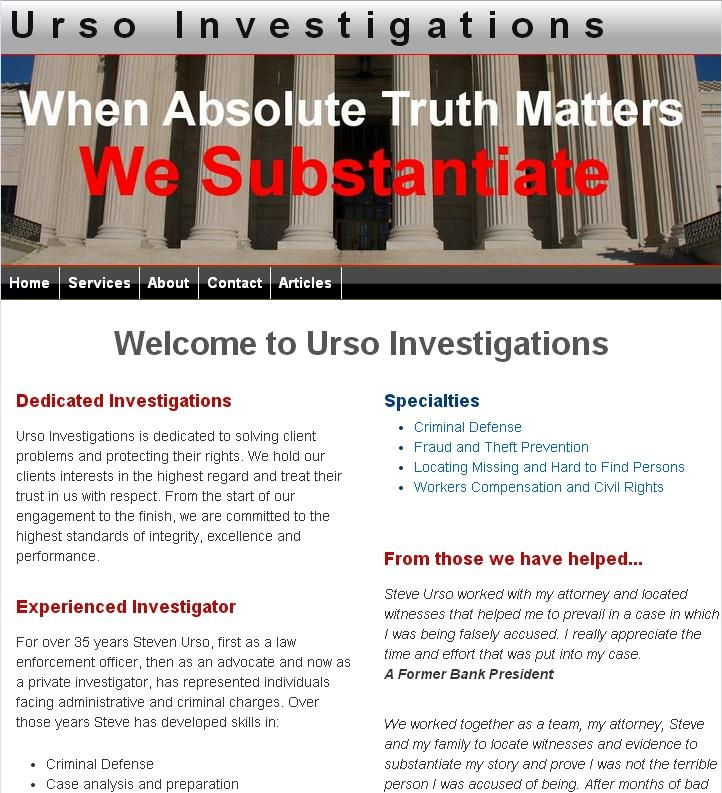 Urso Investigations Website Image